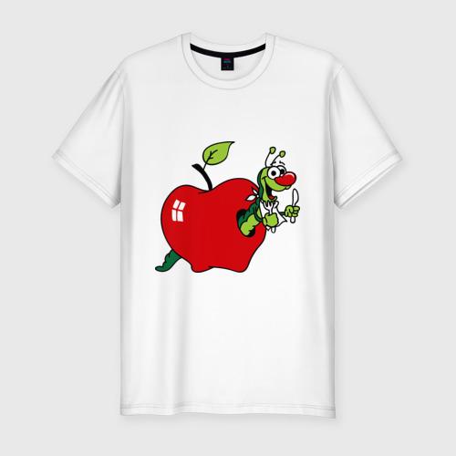 Мужская футболка хлопок Slim Яблочко с червячком