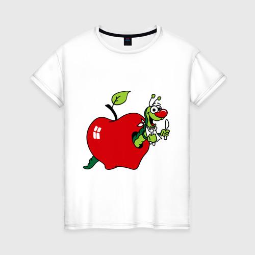 Женская футболка хлопок Яблочко с червячком