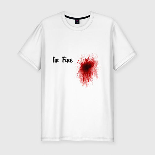 Мужская футболка хлопок Slim Кровавое пятно на сердце