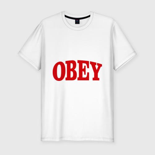 Мужская футболка хлопок Slim OBEY закругленный