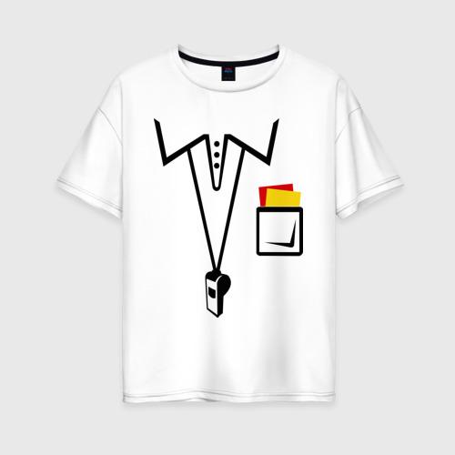 Женская футболка хлопок Oversize Футбольный арбитр
