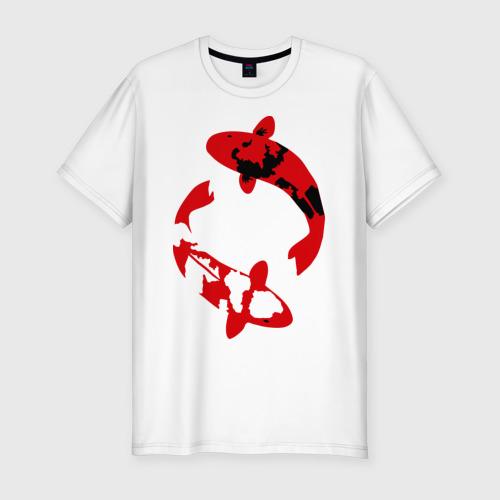 Мужская футболка хлопок Slim Карпы кои (koi fish)