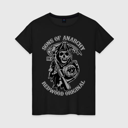 Женская футболка хлопок Sons of anarchy logo