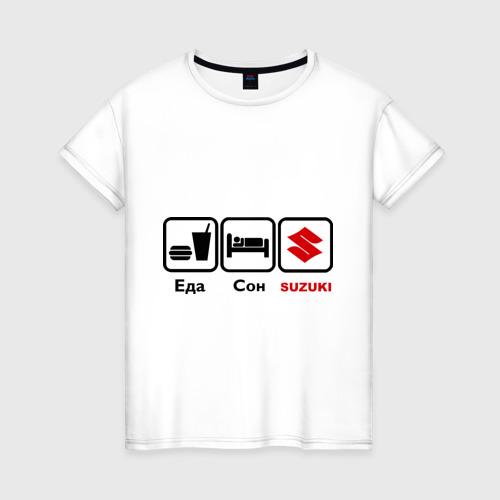 Женская футболка хлопок Главное в жизни – еда, сон , suzuki.