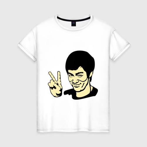 Женская футболка хлопок Позитивный Брюс Ли