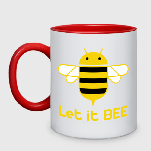 Кружка двухцветная Android - Let It Bee