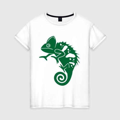 Женская футболка хлопок Хамелеон