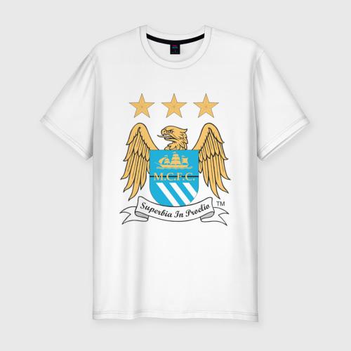 Мужская футболка хлопок Slim Манчестер Сити