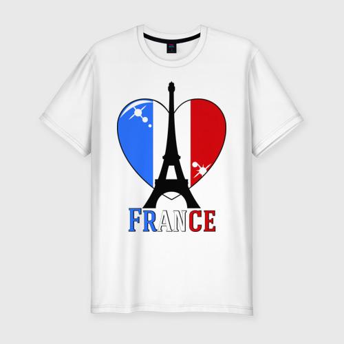 Мужская футболка хлопок Slim Люблю Францию