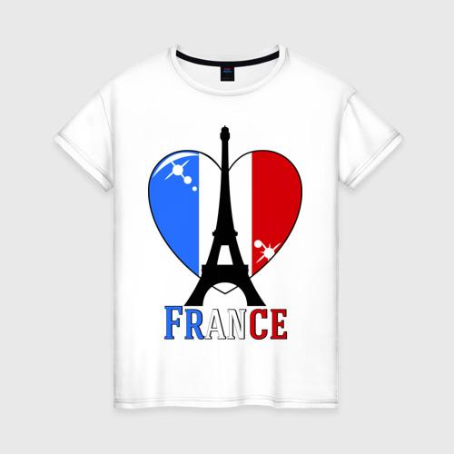 Женская футболка хлопок Люблю Францию