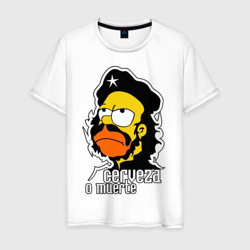 Мужская футболка хлопок Гомер cerveza o muerte (пиво или смерть)