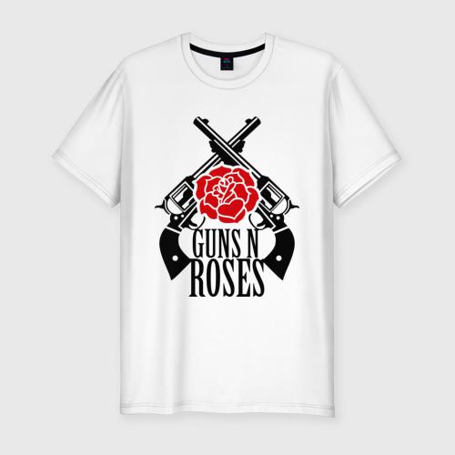 Мужская футболка хлопок Slim Guns n roses rose