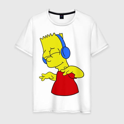 Мужская футболка хлопок Барт в наушниках