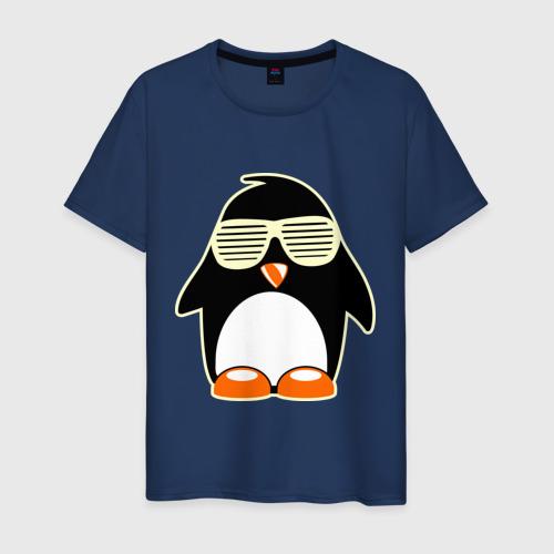 Мужская футболка хлопок Пингвин в очках-жалюзи glow