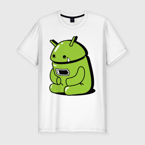 Мужская футболка хлопок Slim Андроид плачет