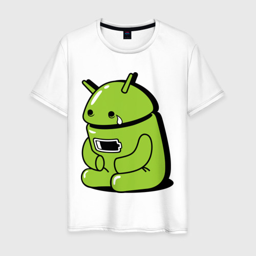 Мужская футболка хлопок Андроид плачет
