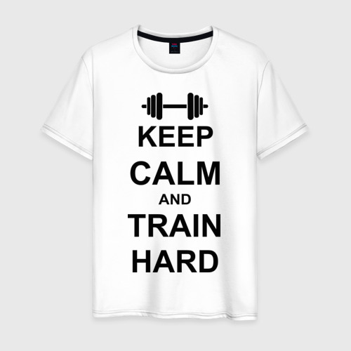 Мужская футболка хлопок Keep  calm and train hard