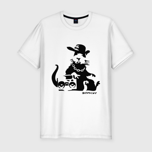 Мужская футболка хлопок Slim Gangsta rat (Banksy)