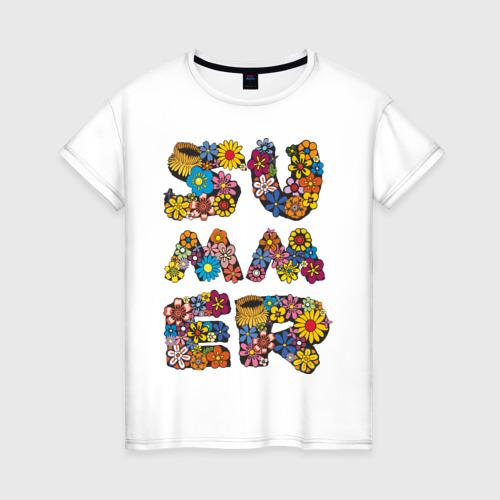 Женская футболка хлопок Summer flowers