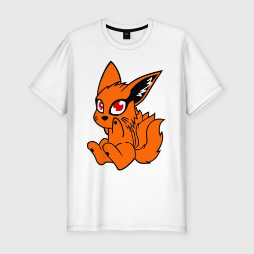 Мужская футболка хлопок Slim Наруто: няшный Девятихвостый