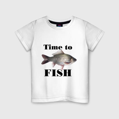 Детская футболка хлопок Time to fish.