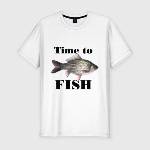 Мужская футболка хлопок Slim Time to fish.