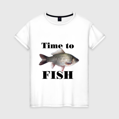 Женская футболка хлопок Time to fish.