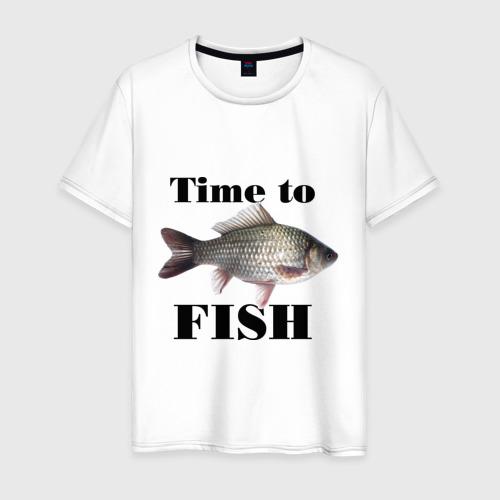 Мужская футболка хлопок Time to fish.