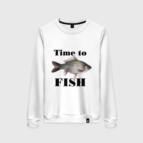 Женский свитшот хлопок Time to fish.