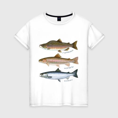 Женская футболка хлопок Лососевые