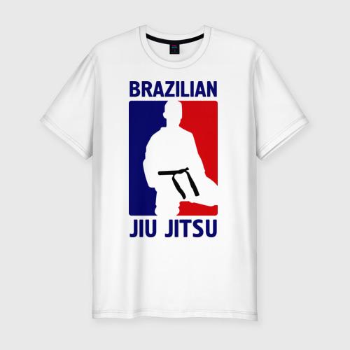 Мужская футболка хлопок Slim Джиу-джитсу  (Jiu jitsu)