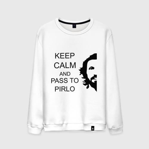 Мужской свитшот хлопок Keep calm and pass to Pirlo