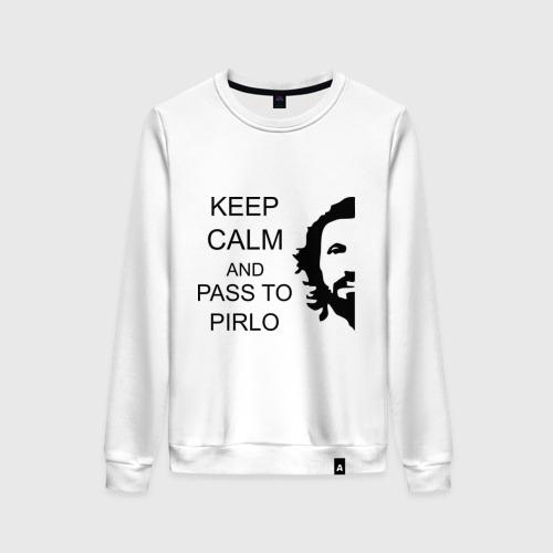 Женский свитшот хлопок Keep calm and pass to Pirlo