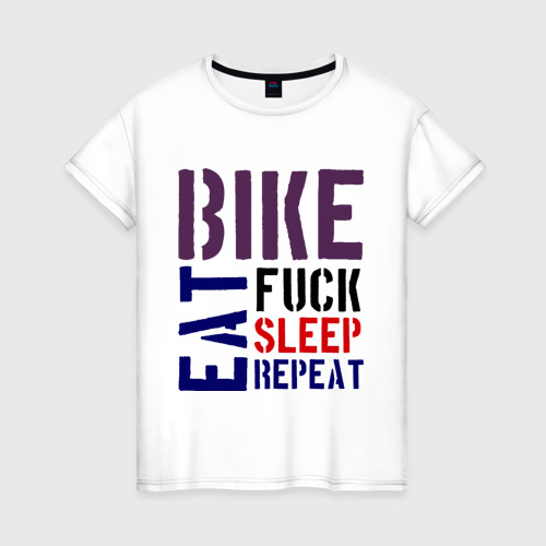 Женская футболка хлопок Bike eat sleep repeat