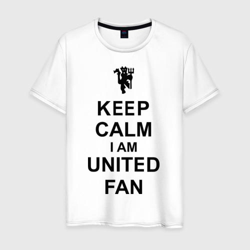 Мужская футболка хлопок keep calm I am United fan