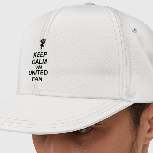 Кепка снепбек с прямым козырьком keep calm I am United fan