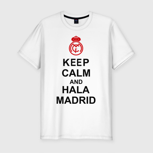 Мужская футболка хлопок Slim keep calm and Hala Madrid