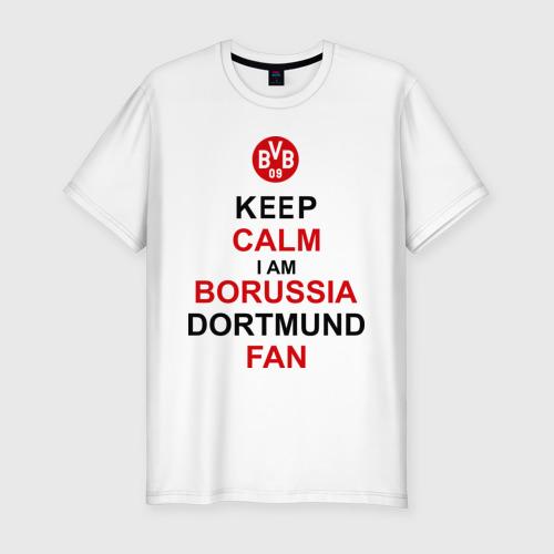 Мужская футболка хлопок Slim keep calm i am Borussia Dortmund fan