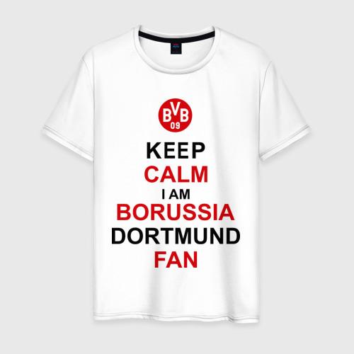 Мужская футболка хлопок keep calm i am Borussia Dortmund fan
