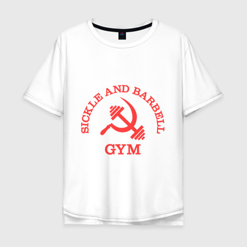 Мужская футболка хлопок Oversize Серп и штанга (Sickle & barbell Gym)