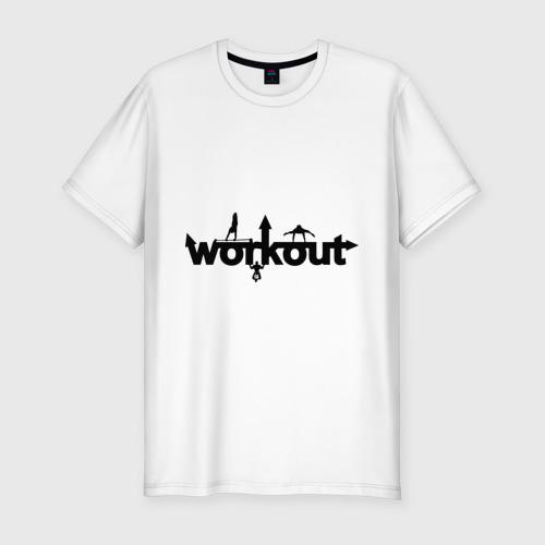 Мужская футболка хлопок Slim WorkOut GYM