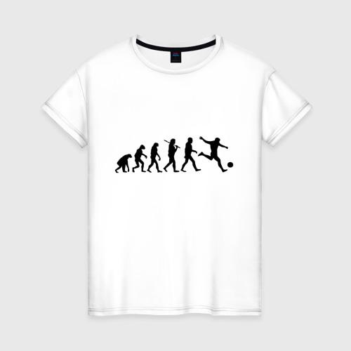 Женская футболка хлопок Футбольная эволюция