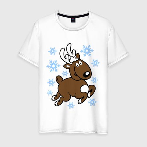 Мужская футболка хлопок Олень и снежинки.
