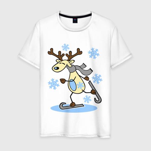 Мужская футболка хлопок Олень на лыжах.