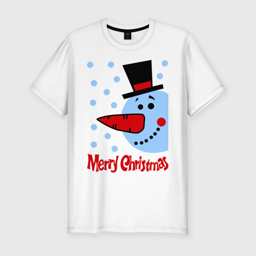 Мужская футболка хлопок Slim Снеговик в цилиндре