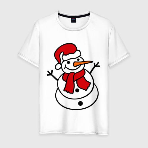 Мужская футболка хлопок Снеговик
