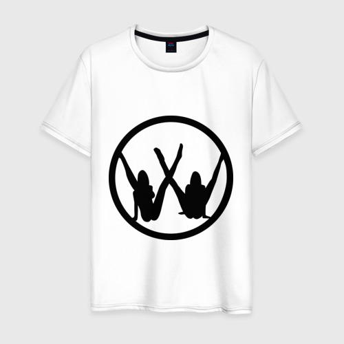Мужская футболка хлопок Две девушки значок