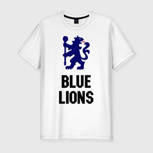 Мужская футболка хлопок Slim blue lions (chelsea)