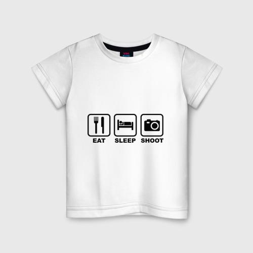 Детская футболка хлопок Eat Sleep Shoot (Ешь, Спи, Фотографируй)