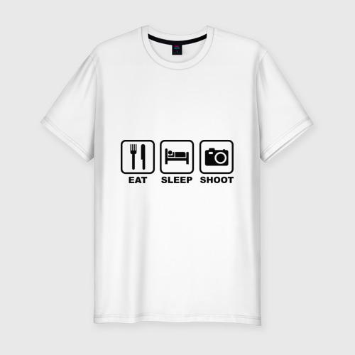 Мужская футболка хлопок Slim Eat Sleep Shoot (Ешь, Спи, Фотографируй)